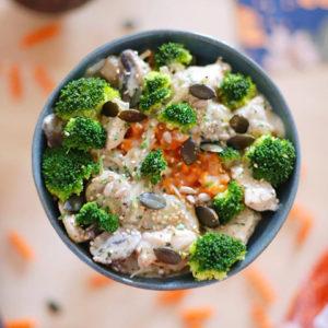 Torsades lentille corail, poulet, brocolis et champignons