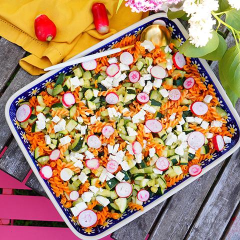 salade pâtes courgettes radis